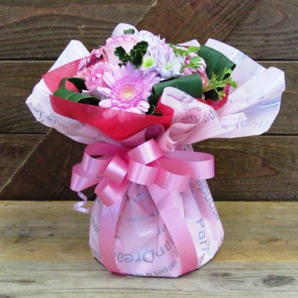 ピンクの花瓶のいらないスタンディングブーケ